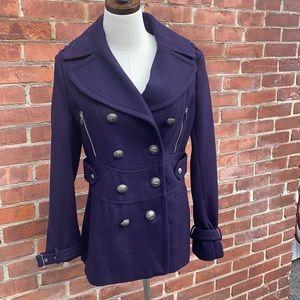 Miss Sixty M60 Purple Wool Blend Pea Coat